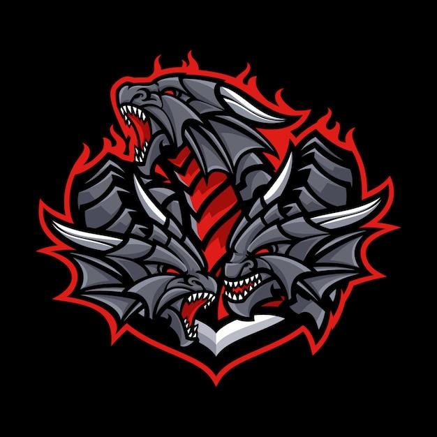 Dragon mascot im dunklen hintergrund Premium Vektoren