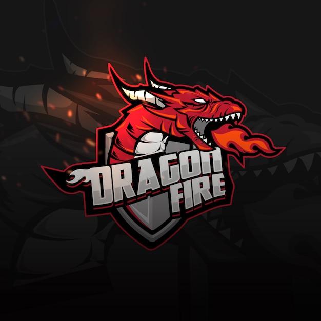Dragon shield sports logo für spiele Premium Vektoren