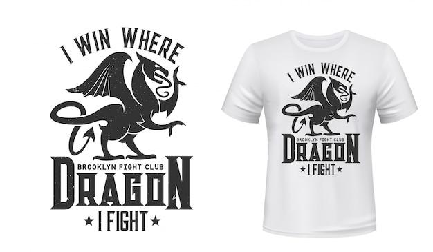 Dragon t-shirt druck, kampf club emblem Premium Vektoren