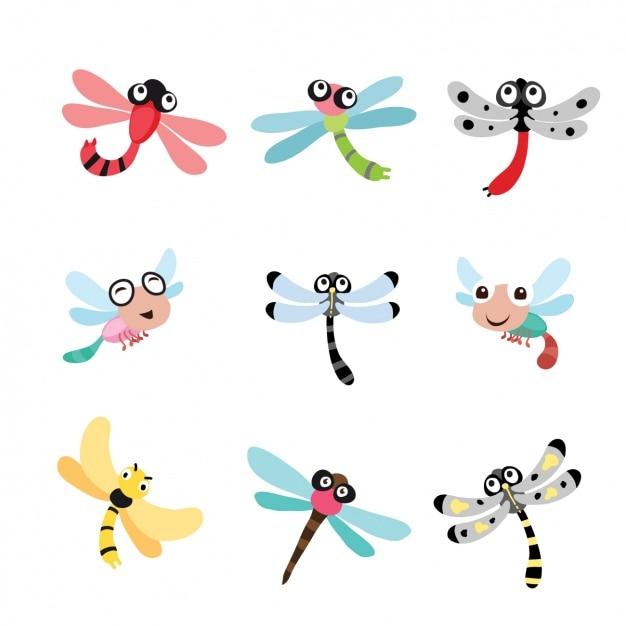 Dragonfly entwirft kollektion Kostenlosen Vektoren