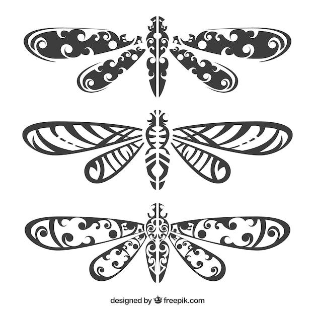 Dragonfly tattoo-kollektion Kostenlosen Vektoren