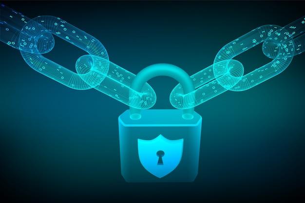 Drahtgitterkette mit digitalem code und schloss. blockchain, cybersicherheit, sicherheit, datenschutzkonzept. Kostenlosen Vektoren