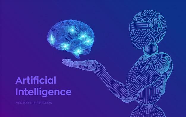 Drahtgitterroboter. ki künstliche intelligenz in form von cyborg oder bot. gehirn in roboterhand. digitales gehirn. Kostenlosen Vektoren