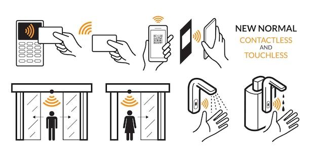 Drahtlos, kreditkarte, smart card und smartphone. autotür, wasserhahn und alkoholspender Premium Vektoren
