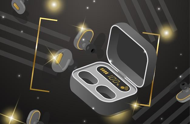 Drahtlose kopfhörer und ladetasche für ohrhörer Premium Vektoren
