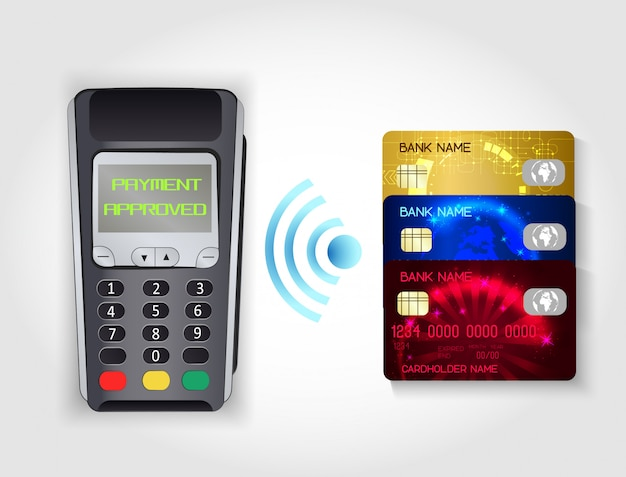 Drahtlose mobile zahlung per kreditkarte. Premium Vektoren
