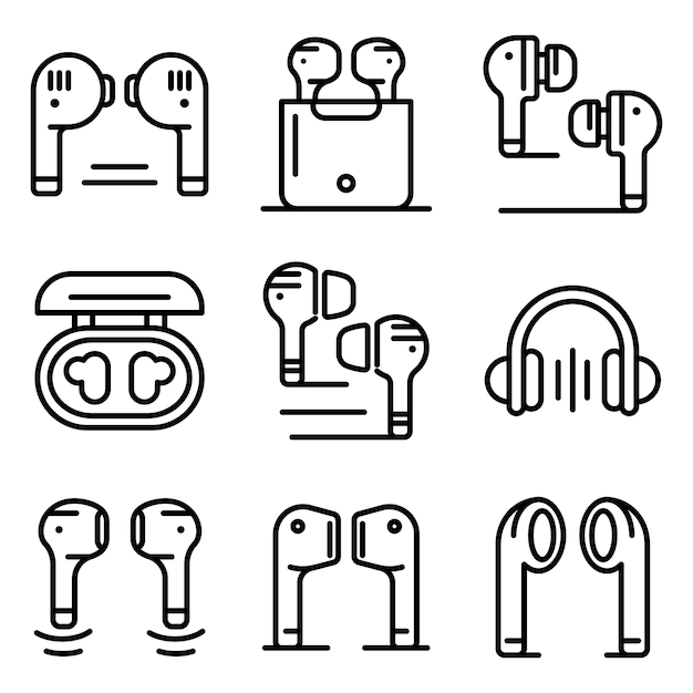 Drahtlose ohrhörer icons set, umriss-stil Premium Vektoren