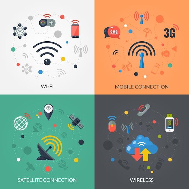 Drahtlose technologie 4 flache ikonen quadrat Kostenlosen Vektoren