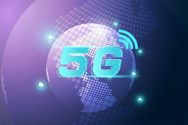 Drahtloses wifi anschlusskonzept des internets 5g. hochgeschwindigkeitsinnovationsdatentechnologie des globalen netzwerks, vektorillustration Premium Vektoren