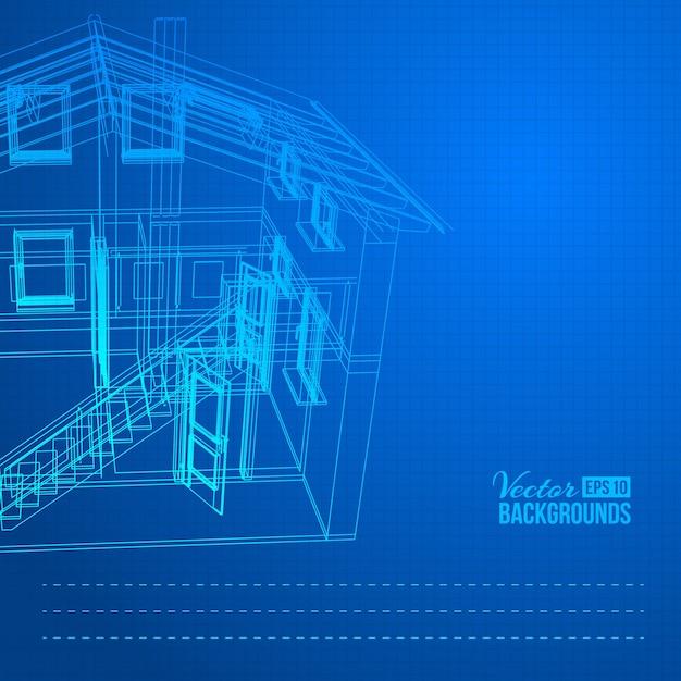 Drahtmodell des Gebäudes   Download der kostenlosen Vektor