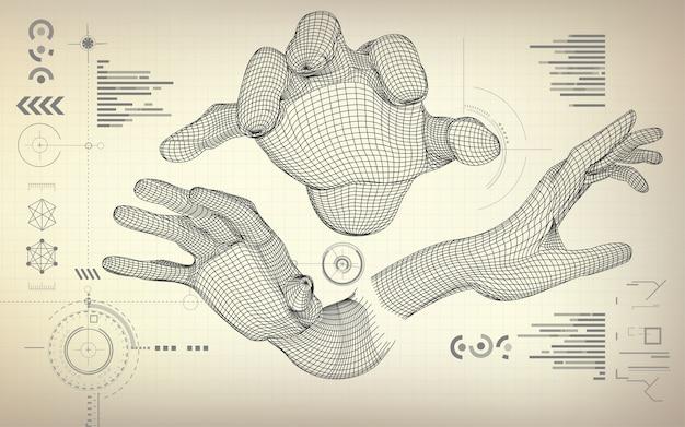 Drahtmodell Hände   Download der Premium Vektor