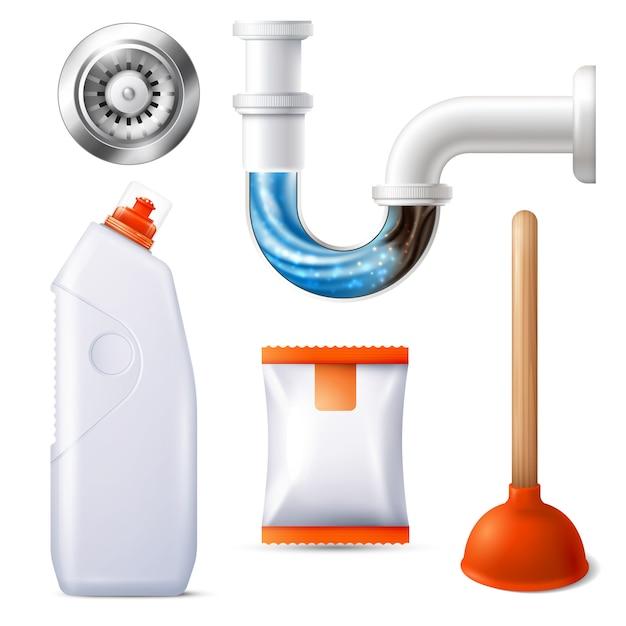 Drain cleaner icon set Kostenlosen Vektoren