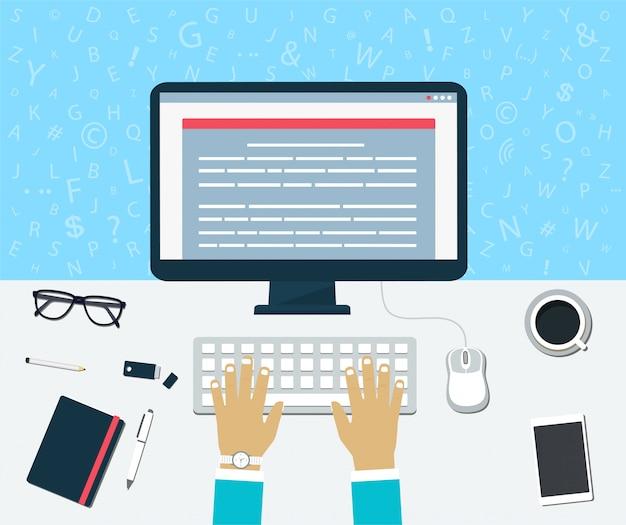 Draufsicht auf arbeitsplatz. eingabe von inhalten auf dem computer Premium Vektoren