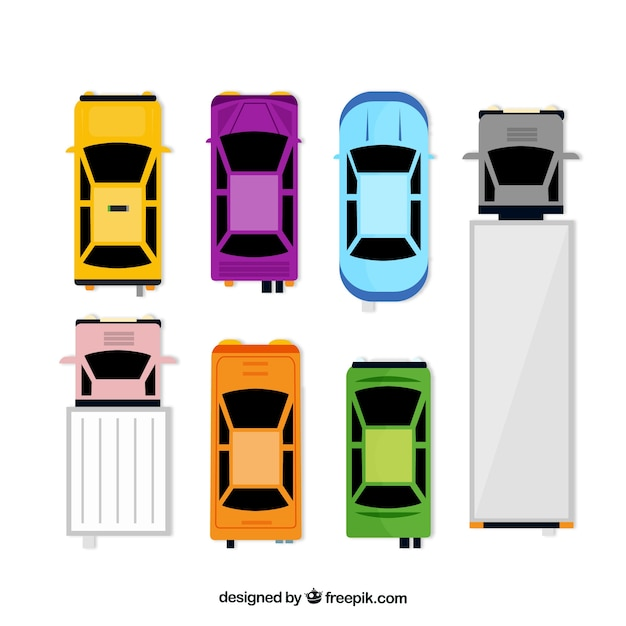 Draufsicht auf flachwagen und lastwagen | Download der ...