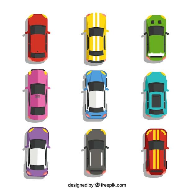 Draufsicht auf neun autos | Download der kostenlosen Vektor