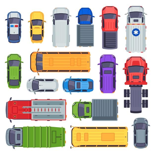 Draufsicht auf öffentliche verkehrsmittel. taxi, stadtbusse und krankenwagen. lieferwagen, schulbus und feuerwehrauto-set Premium Vektoren