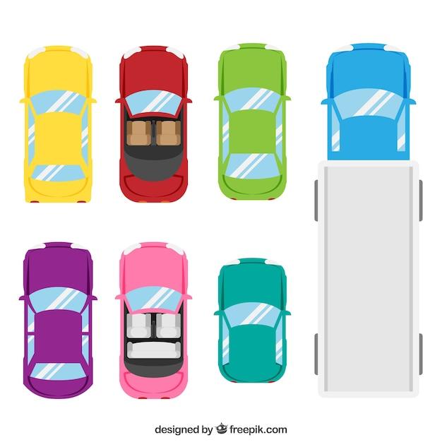 Draufsicht auf sechs autos und einen lkw | Download der ...