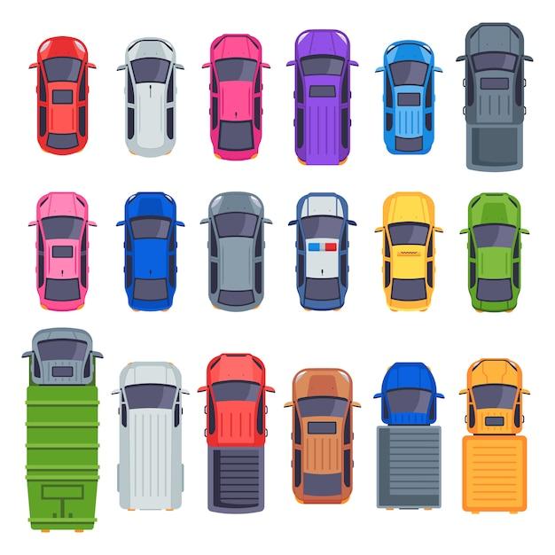 Draufsicht autos. autotransport, lkw und autodach. stadtverkehrsillustrationssatz Premium Vektoren
