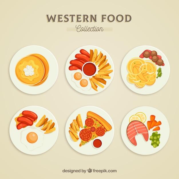 Draufsicht der essen geschirr sammlung Kostenlosen Vektoren