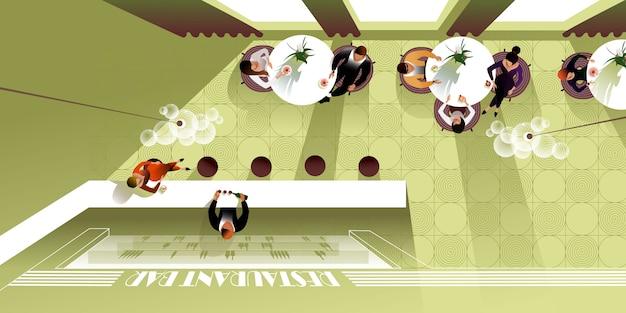 Draufsicht der innenarchitektur des modernen restaurants. vektormodell für eine layout-zielseite Premium Vektoren