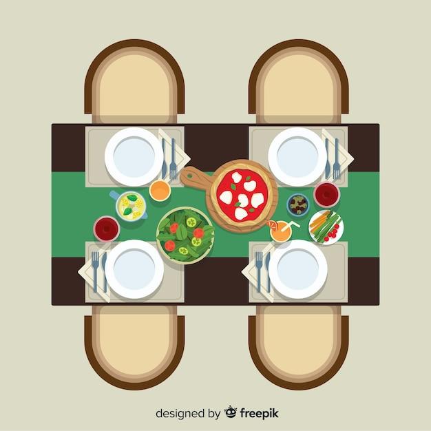 Draufsicht der modernen restauranttabelle mit flachem design Kostenlosen Vektoren