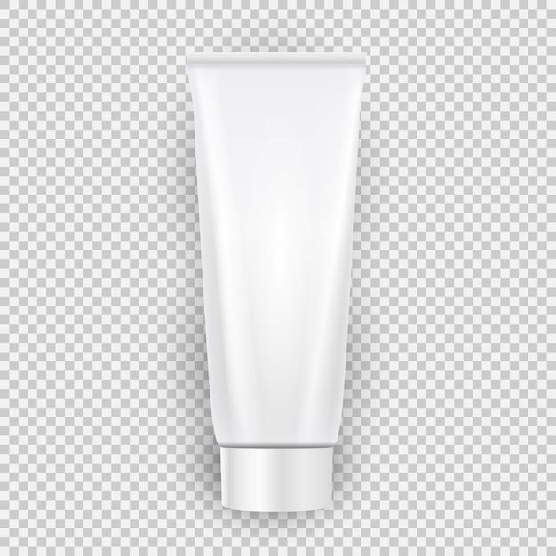 Draufsicht der weißen leeren sahneflaschen-schablone mit dem schatten lokalisiert auf transparentem hintergrund. Premium Vektoren