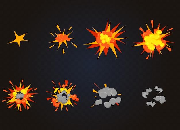 Draufsicht des blitzexplosionseffekts, bombenausleger. cartoon explosion animationsspiel frames. Premium Vektoren