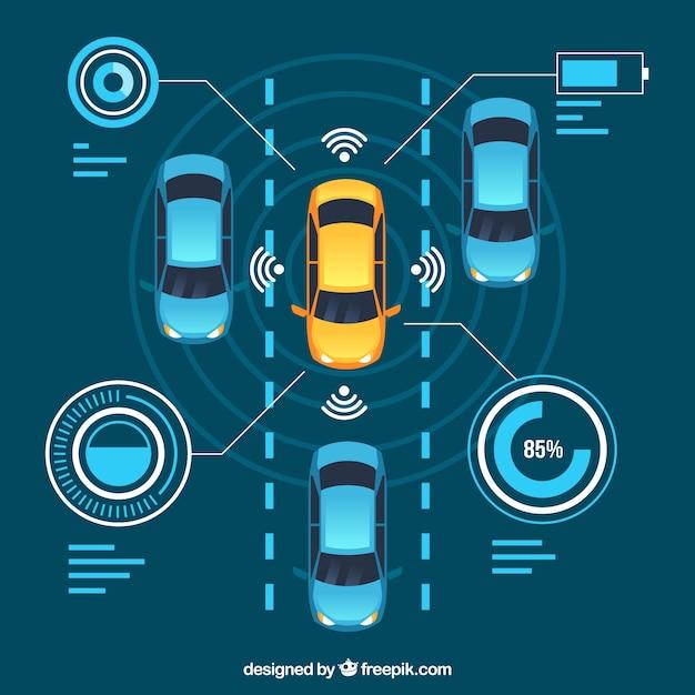 Draufsicht des futuristischen autonomen autos mit flachem design Kostenlosen Vektoren