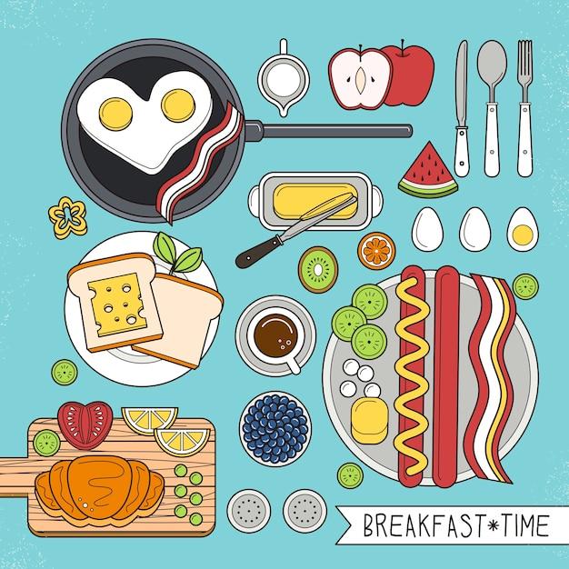 Draufsicht des nahrhaften frühstücks gesetzt in Premium Vektoren