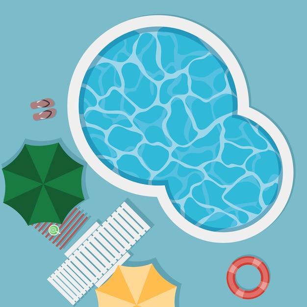 Draufsicht des pools an den sommerferien Premium Vektoren