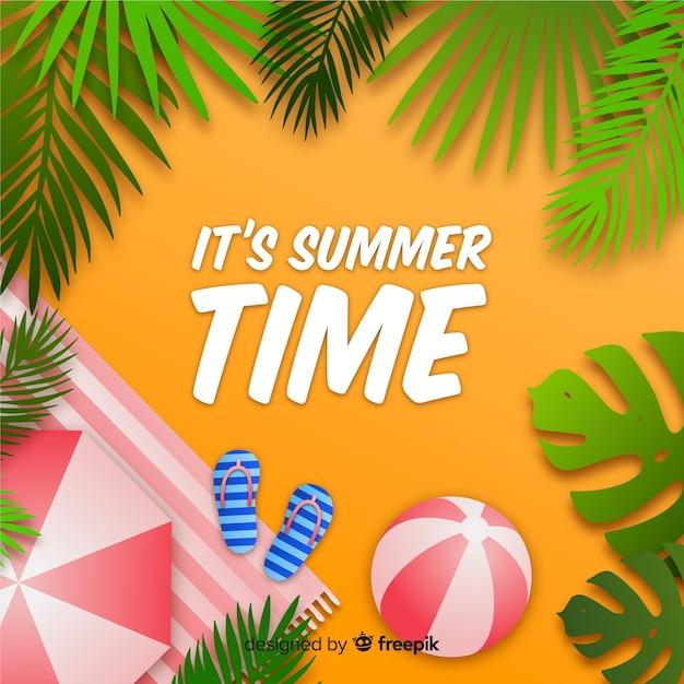 Draufsicht des realistischen sommerhintergrundes Kostenlosen Vektoren