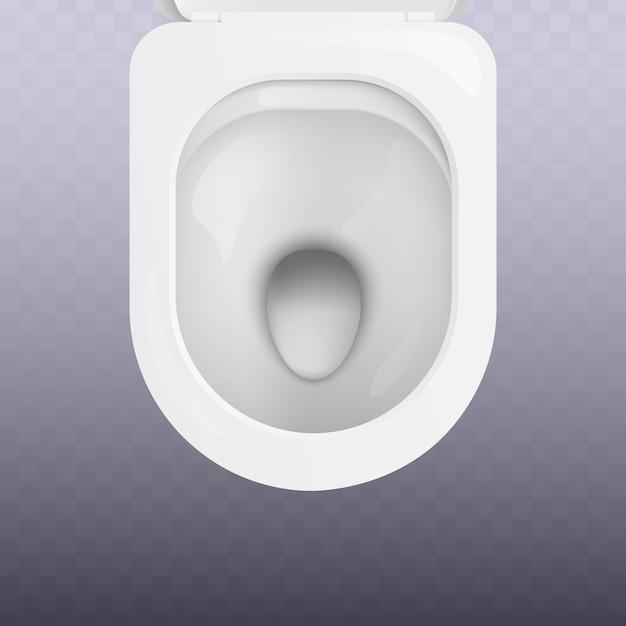 Draufsicht des sauberen weißen toilettenschüsselsitzes realistisch. sanitäranlagen für badezimmer und toiletten für individuelle hygiene. Premium Vektoren