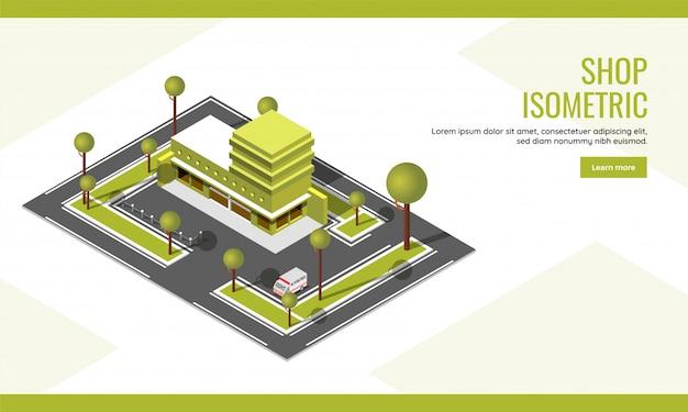 Draufsicht des stadtbildgebäudes mit fahrzeugparkplatzhintergrund für shopkonzept basierte isometrisches landungsseitendesign. Premium Vektoren