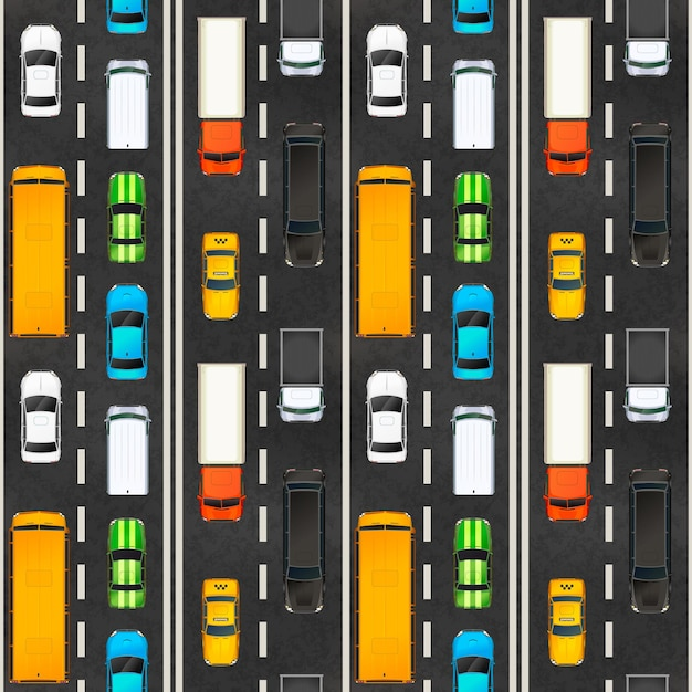 Draufsicht des staus mit vielen realistischen glänzenden autos auf der autobahn, nahtloses muster Premium Vektoren