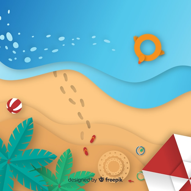 Draufsicht des strandes in der papierart Kostenlosen Vektoren