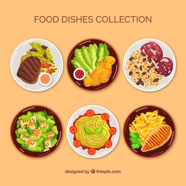 Draufsicht essen schüssel sammlung Kostenlosen Vektoren