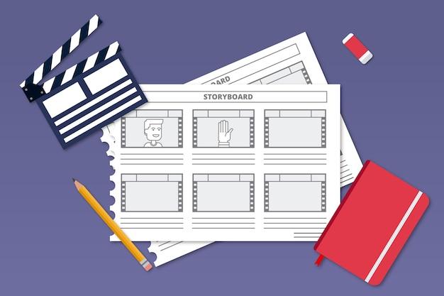 Draufsicht gezeichnetes storyboard Kostenlosen Vektoren