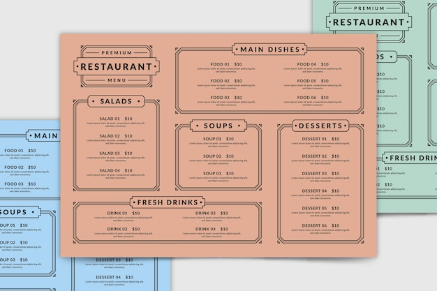 Draufsicht restaurant menüvorlage Kostenlosen Vektoren