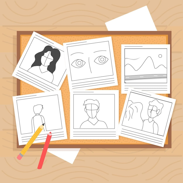 Draufsicht verschiedene geschichten mit zeichnungen Kostenlosen Vektoren