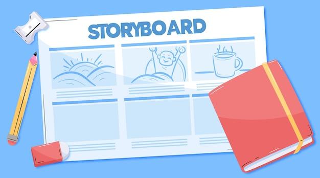 Draufsicht verschiedene storyboard und buch Premium Vektoren