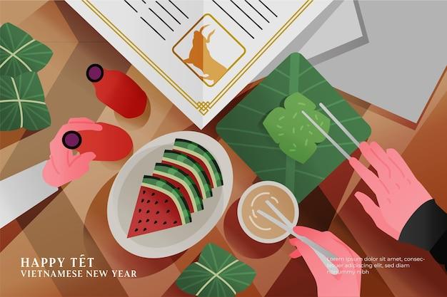 Draufsicht vietnamesisches neujahrsessen Kostenlosen Vektoren