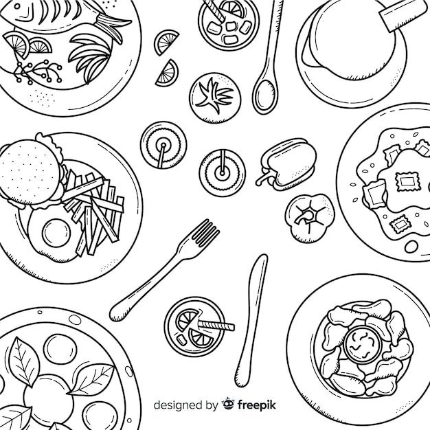 Draufsicht von tellern auf restauranttabelle Kostenlosen Vektoren