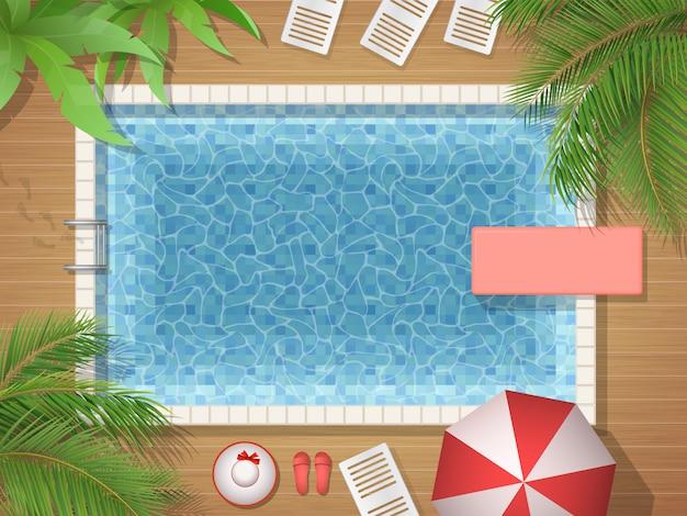Draufsichtillustration des swimmingpools und der palme Premium Vektoren