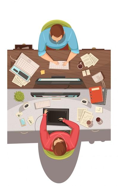 Draufsichtkonzeptkonzept des geschäftstreffens mit zwei geschäftsmännern, die in ihren jobs sitzen und karikaturvektorillustration der probleme flache besprechen Kostenlosen Vektoren