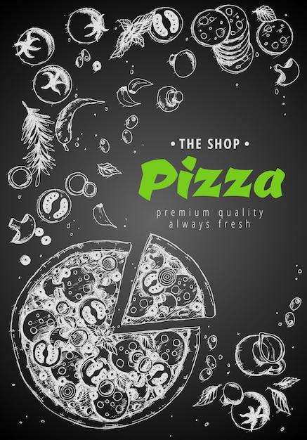 Draufsichtrahmen der italienischen pizza. Premium Vektoren