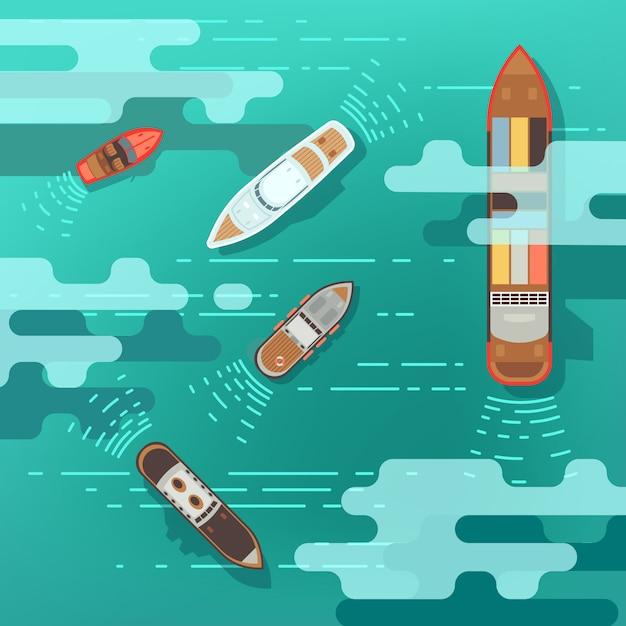 Draufsichtseeschiff und versandboot auf ozeanwasseroberflächenvektorillustration. schiff und boot, trave Premium Vektoren