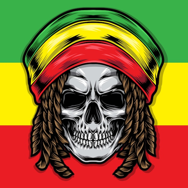 Dreadlocks schädel rasta illustration Premium Vektoren
