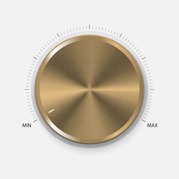 Drehknopf. realistische gold-taste mit kreisförmiger verarbeitung. lautstärkeeinstellungen, klangregelung Premium Vektoren