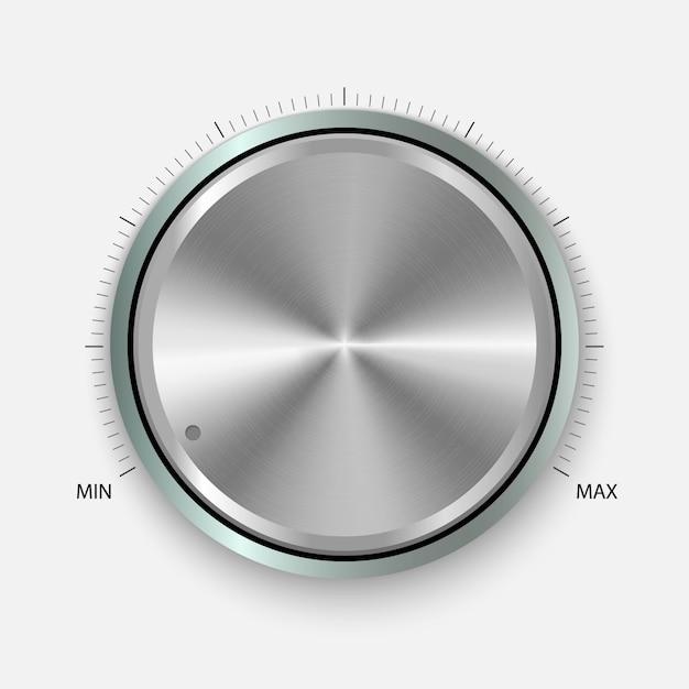 Drehknopf. realistische schaltfläche mit kreisverarbeitung. lautstärkeeinstellungen, klangregelung Premium Vektoren