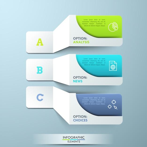 Drei beschriftete weiße papierelemente mit piktogrammen und bunten textboxen. kreative infografik-vorlage. 3 hauptmerkmale des angebotenen service Premium Vektoren